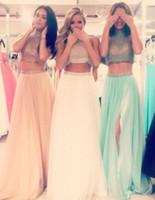 2016 New Fashion Split Evening Dresses Sparking Bling Crysta...