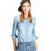 Toptan ücretsiz kargo Sonbahar Kadın Denim Gömlek Moda Stil Uzun Kollu Casual Gömlek Kadın 2 Renkler Bluzlar Artı Boyutu Blusa Jeans Femini