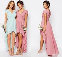 2017 Şifon Yüksek Düşük Gelinlik Modelleri Mor Şeftali V Boyun Kılıflı Kollu Düğün Konuk Elbise Fermuar Geri Ucuz Balo Örgün Parti Abiye