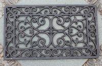 Decorativo Ferro Ferro Ferro Pergaminho De Porta Esteira Ao Ar Livre Capacete Retangular Home Jardim English Ornament 33 x 57cm Ferro fundido Artesanato Vintage Marrom