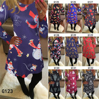 New Womens Dress Halloween Christmas Print Long Sleeve Dress...