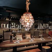 Старинные веревки подвесной светильник чердак творческой личности промышленных Кристалл подвесной светильник ретро американский стиль лампы домашнего декора столовая