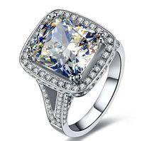 Размер 5-11 Горячие продажи ювелирных изделий 8CT Большой Белый сапфир 14kt белого золота заполнены GF Сымитированный алмаз обручальное обручальное кольцо диапазона любителей подарок