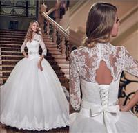 Robe de boules de dentelle fleurs vintage 3/4 manches robes de mariée robe de mariée veau vède robe de mariée à encolure avec robe de mariée à lacets arabe