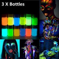 Toptan-3 adet 25g Parlayan Yüz Vücut Boya Karanlıkta Glow 12 Renkler Parti Cadılar Bayramı Vücut için Aydınlık UV Akrilik Boyalar