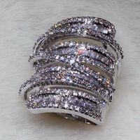 Voller Princess Cut Luxus Schmuck 925 Sterling Silber 925 Sterling Silber Weißer Saphir Simulierter Diamant Edelsteine Hochzeit Frauen Ring Sz5-11