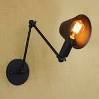 Loft Retro Matte Black Iron Shade Adjustable Swing Arm Readi...