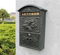 Antike Wandhalterung Gussaluminium Blume Mailbox Geprägte Trim Decor Dunkelgrüne Metall Mail Briefe für Post Box Yard Patio Garden Lockabled