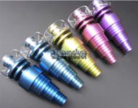 Eloxierter bunter Gr2 Domeeless Titanium-Nagel-rauchender Zusatz-Quarz-Spitzen-Titan-Nagel erzogener farbiger Titannagel mit Quarz-Schüssel