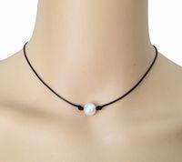 10mm collana di perle bianche d'acqua dolce coltivate singola perla nera in pelle choker vera perla galleggiante gioielli fatti a mano migliore amico accessori