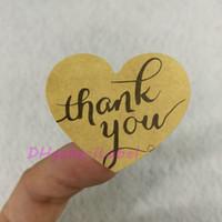 """1200 قطعة / الوحدة 32 * 38 ملليمتر (1.26 """"x 1.5"""") شكل قلب شكرا ملصقا كرافت تسمية ملصق diy اليدوية هدية / كعكة الخبز ختم ملصقا"""
