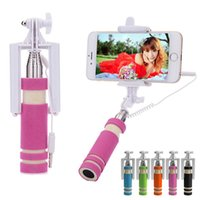 Mini Wired Selfie Stick Handheld Extendable Monopod Fordable для Iphone 6S Samsung Galaxy S7 Edge с розничным пакетом