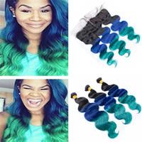 Ombre 1B Blue Green Weft Rozszerzenie Z Ucho do Ear Frontal Trzy Tone Virgin Human Ciała Fala Włosy 3 z koronki Frontal