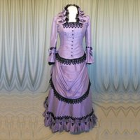 Brand New Purple Taffeta Victorian Dresses French Bustle Per...