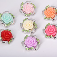 10PCS Lot New Colorized Rhinestones Flower Metal Snap Button...