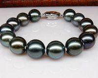 Bella 10-11mm tahitian rotonda pavone verde perla baracelet 7.5-8 pollici argento S925