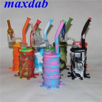 Silikon-DAB-Rign-Hukahn mit 14-mm-Doppelrohr-Quarz-Nagel- und Glaskohlenhydrat-Kappe Silizium-Wasser-Rohr-Bong-tragbare Wasserhaare für das Rauchen