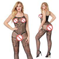 Seksi Bodysuit Sıcak Fishnet Vücut Çorapları Açık Kasık Gecelikler Sıcak Lingerie Bodywear Langerie Lenceria Nightie Tek Parça Pijama