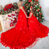 Latest 2017 Christmas Day Red Mother And Daughter Party Dres...