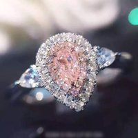 Gioielli di moda in argento sterling 925 anello Drop-cut 2ct Diamand Rosa 2 Surround Pave impostazione cz Wedding Band Anelli per le donne