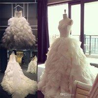 2019 vestido de baile vestidos de casamento Flouncing Arábia Árabe Lace Top Vestidos Bridal Ruffles vestido de noiva de alta qualidade Igreja Praia