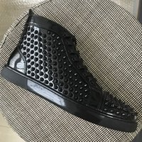 New Mens Womens Black Patent Leather With Spikes Red Bottom ...