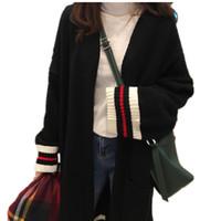 Vente en gros-Plus Size pull rayé 2017 femmes hiver chaud épais noir Cardigan tricoté printemps coréen lâche manches longues femmes Poncho