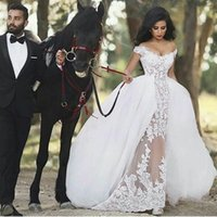 2017 New Vintage Lace Off- the- Shoulder Mermaid Wedding Dress...