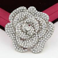 2,4 tums stor ros brosch mousserande klara kristaller stor runda ros brosch bröllop kvinnor brosch pins heta försäljning