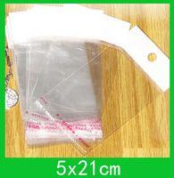 Borse di imballaggio poli appeso (5x21cm) con sacchetto dell'OPP del sigillo autoadesivo / poly all'ingrosso 1000 pz / lotto