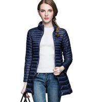 Designer Automne Hiver 90% Blanc Duvet De Canard Longue Veste Femme Manteau Ultra Léger Mince Vestes Manteau D'hiver Portable Parka S-4XL