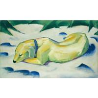 Canvas Art Dog Lying In The Snow Franz Marc Målningar Olja Reproduktion Högkvalitativ handmålad