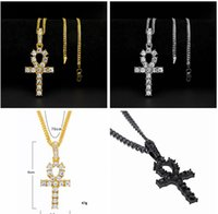 Mens Bling Iced Out Egyptian Ankh Key Pendant Necklace Gold ...