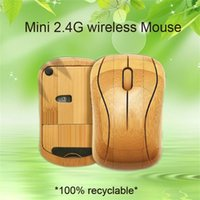 Wholesale Bamboo 2. 4G Wireless Mouse Natural Handmade Optica...