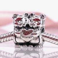 Autentyczne 925 Sterling Silver Najlepsi Buddies Urok Pasuje Europejski Pandora Styl Bransoletki Biżuteria Naszyjnik 792151