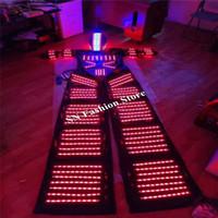 L97-1 LED luce robot robot costumi sala da ballo dacing mens suit dj casco stage bar modelli indossa abbigliamento discoteca led luce robot party