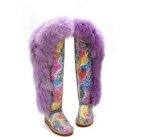 women fashion high quality knee- high boots real fur snow boo...