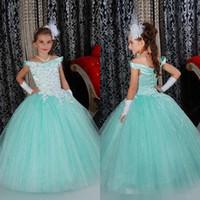 Удивительные бальное платье девушки театрализованное платья хороший светло-голубой с плеча цветочница платье для свадьбы Золушка костюм для детей новый
