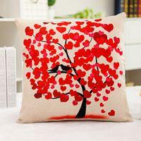 1X خمر المركب الكتان وسادة القضية غطاء وسادة أريكة الأحمر القلب والطيور شجرة 42x42cm