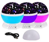 LED Gece Lambası Yenilik Yıldızlı Yıldız Ay Işık Değiştirilebilir Projektör 360 Derece Romantik Dönen LED Etkisi Ampul Tatil Çocuklar Hediyeler için USB