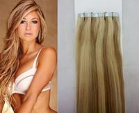 """14 """"-28"""" 40 pezzi 100 g nastro per capelli naturale 100% in indiano / indiano / peruviano peruviani estensioni dei capelli umani colore Colore piano # 27/613 estensioni dei capelli nastro"""