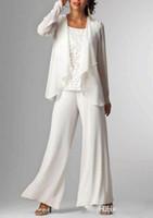 La madre de la gasa blanca calza los trajes de los trajes con la chaqueta de la madre de los vestidos de la novia 3 pedazos de vestidos formales de noche de la madre Venta caliente