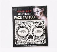Großhandel DHL100pcs Gesicht temporäre Tätowierungen Fright Night Temporary Gesicht Tattoo Body Art Chain Transfer Tattoos Temporary Aufkleber 9 Styles