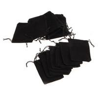 벨벳 선물 쥬얼리 Drawstring 가방 스토리지 파우치 블랙 파우치 가방 포장 파티 Velor 선호 작은 롯데 링 헝겊 가방 7 * 9cm 25pcs / Lot