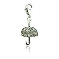 En vrac flottant homard fermoir charmes couleur argent blanc strass parapluie breloques pour bijoux bricolage fabrication d'accessoires