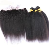 몽골족의 인간의 머리카락 3 번들이 얽히고 설킨 정통 귀염둥이 귀에 귀를 기울이게하는 머리카락을 엮은 풀 레이스 프론트