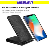 Bestsin Leather Wireless Charger for Iphone 8 Horizontal and...