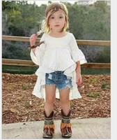 Mode filles ensembles de vêtements 2016 fille blanc robe de smoking + shorts de cowboy 2pcs tenues pour enfants bébé fille vêtements costume pour enfants 2-7 t 6 ensembles / lot