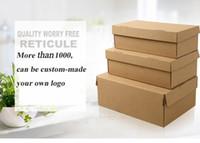 100 psc أحجام مختلفة براون التغليف الحرفية ورقة مربع للأحذية الملابس اليدوية هدية حزمة صناديق بريدية أحذية صناديق