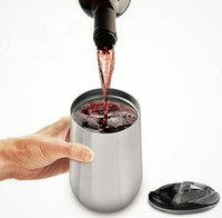 16 أوقية 304 المقاوم للصدأ أكواب النبيذ 16 أوقية النبيذ الأحمر أكواب فراغ معزول بهلوان أكواب السفر في الهواء الطلق مع اغطية في المخزون